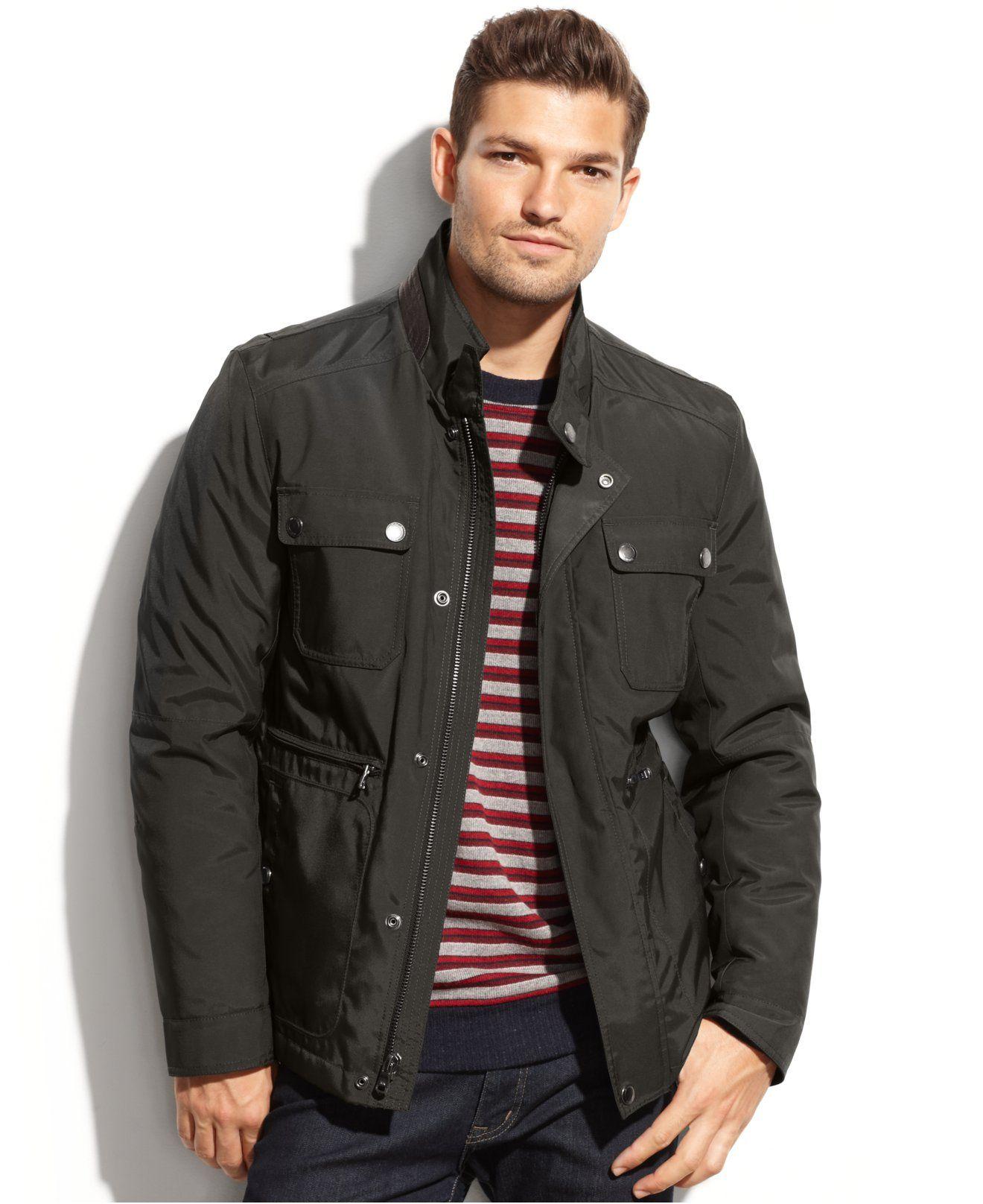 Michael Michael Kors Fruita Cropped Leather Trim Field Coat Coats Jackets Men Macy S Http Www1 Macys Com Shop Field Coat Mens Jackets Coats Jackets [ 1616 x 1320 Pixel ]