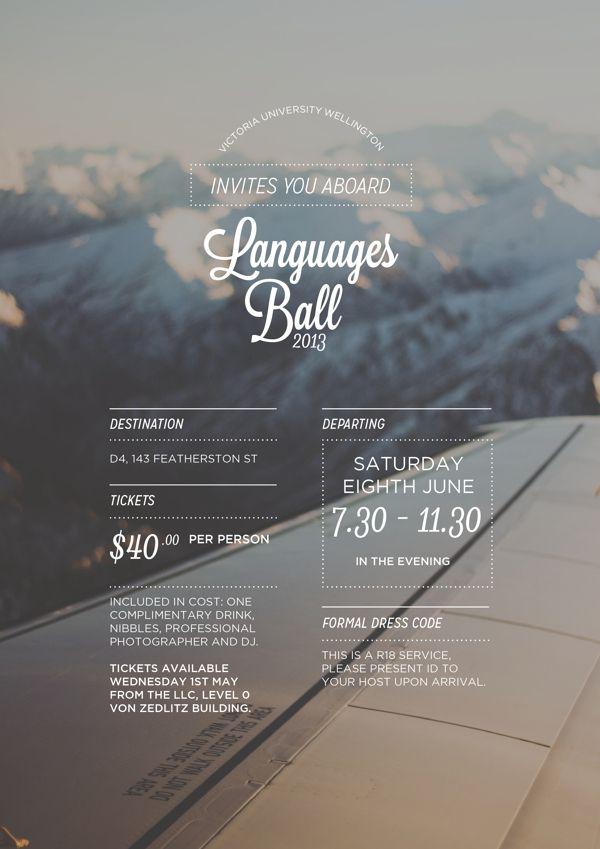 Victoria University Wellington Languages Ball 2013 by Alise Flannery, via Behance