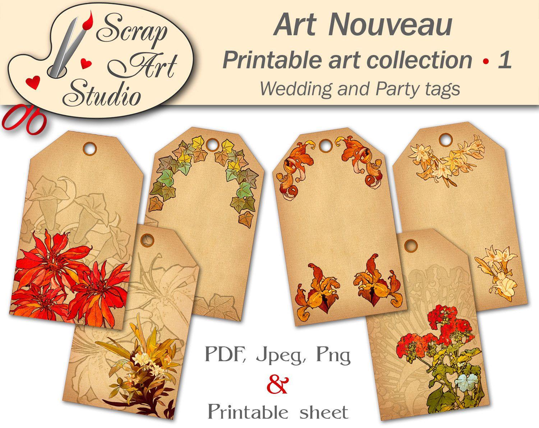 Pin by Geclee Art Studio on Art Nouveau   Pinterest   Printable tags ...