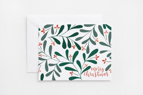 Say Merry Christmas with these fun, hand illustrated holiday cards. Each hand lettered card is printed in full color and illustrated with