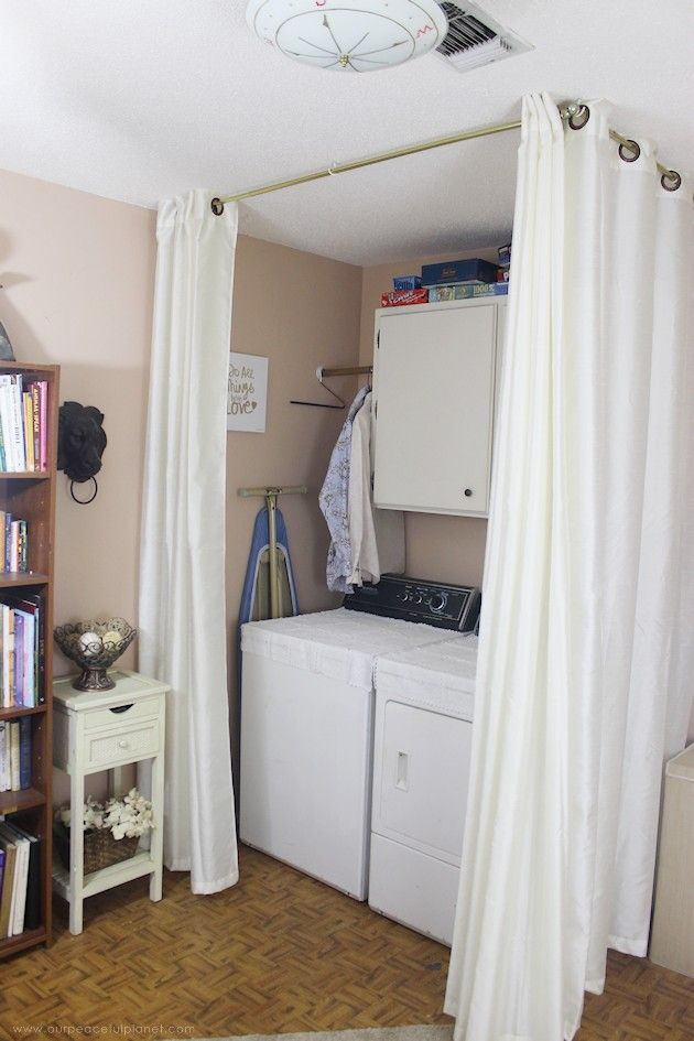 Easy Room Divider For A Gorgeous Global Library Laundry Room Combo