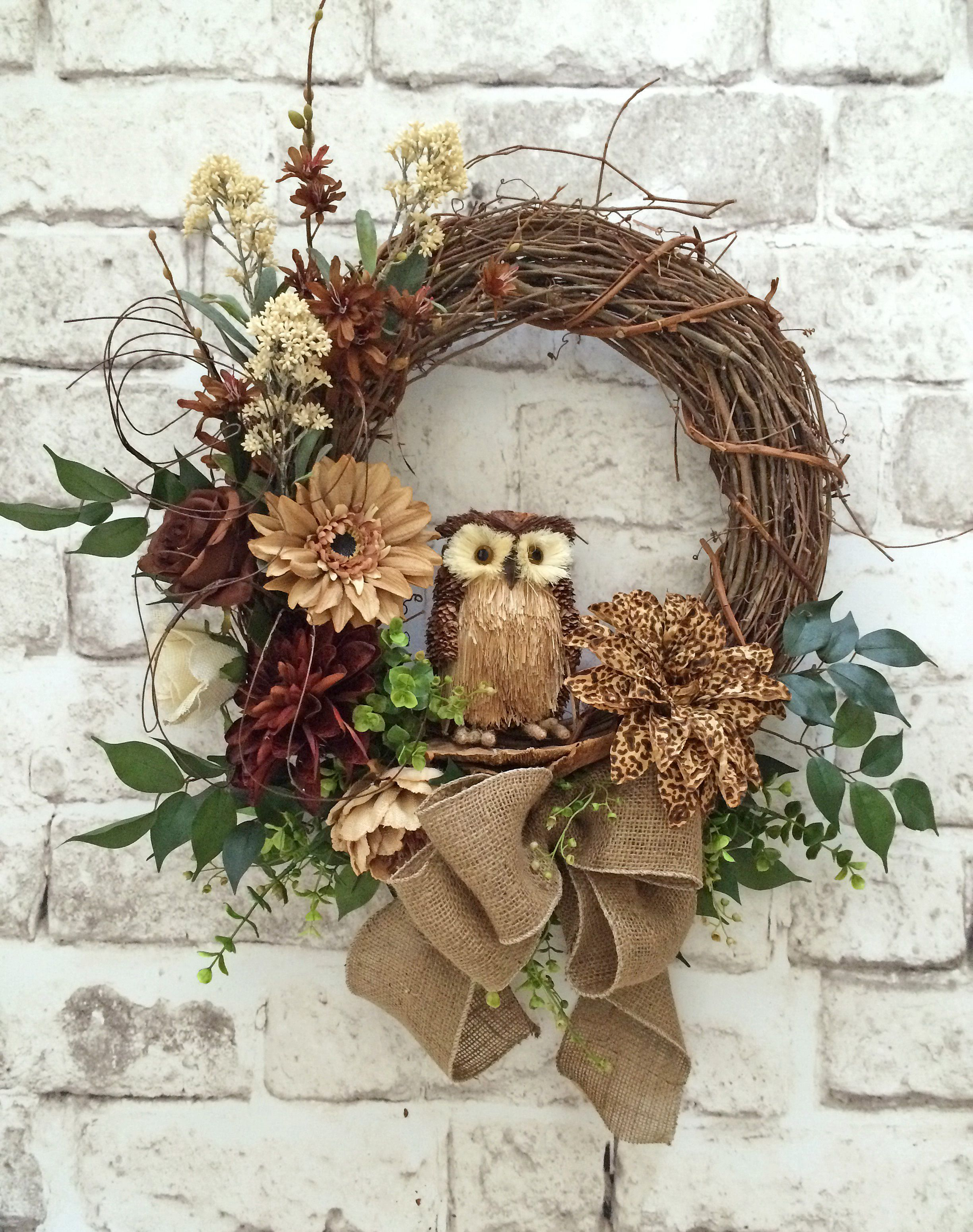 Photo of Leopard Floral Owl Wreath, Front Door Wreath, Neutral Wreath, Brown, Light Brown, Cream, …