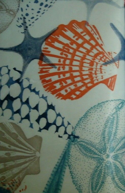 Coastal Vinyl Tablecloth Sea Life Gorgeous Blue Colors Starfish Elrene Asst Size