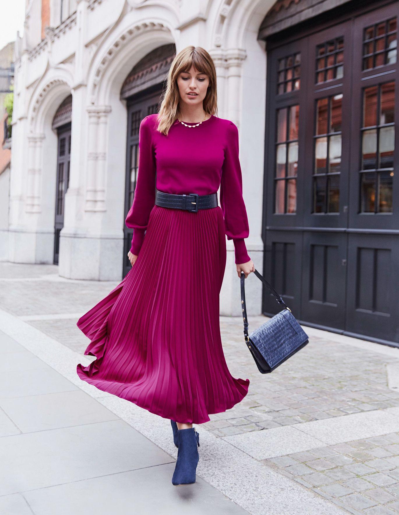 Kristen Plisseerock Orangerot Faltenrock Modestil Faltenrock Outfit