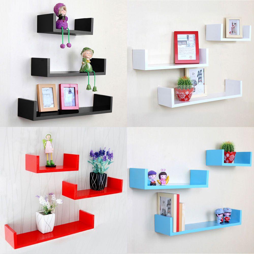 3 Display U Shape Floating Wall Shelves Book Storage Shelf Display Unit Home In 2020 Floating Shelves Floating Shelf Decor Floating Wall Shelves