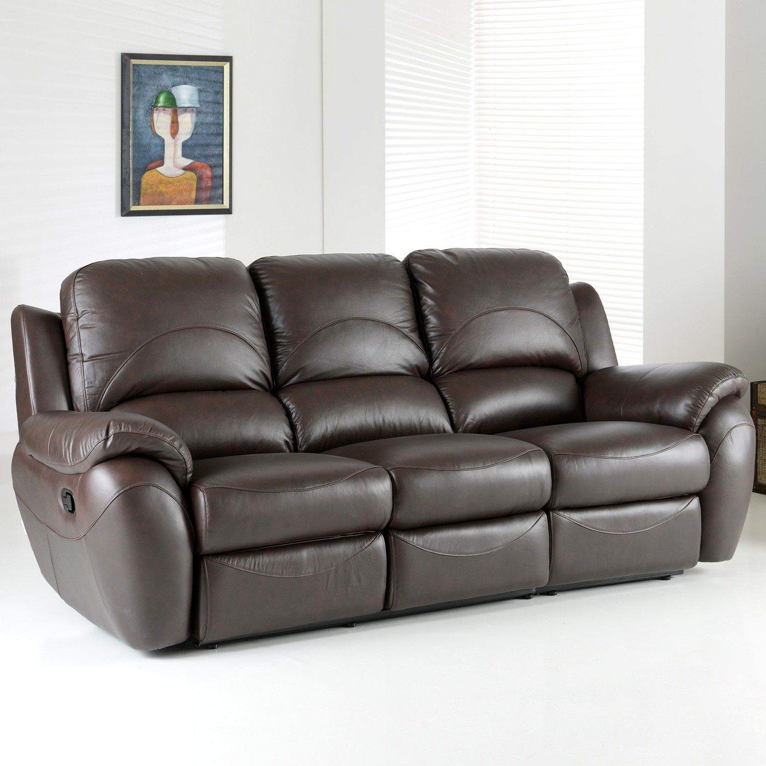 Attractive Living Room Furniture Dark Brown Full Grain Leather Recliner Sofa In White  Living Room Lazy Boy