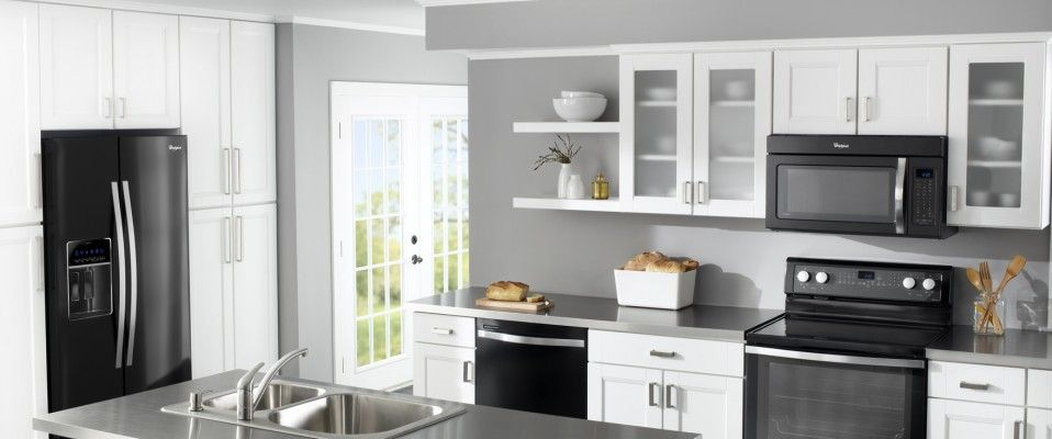Cool Kitchen Appliances With Black Refrigerator With Gray Wall Color Scheme