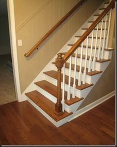 Attractive Wood Treads, White Risers, Wood Floor, White Balustrade, Wood Banister.  Lovely