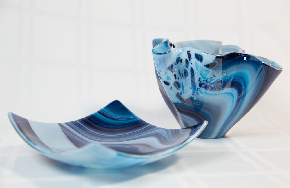 Fused glass vase and square plate by spallekglassart