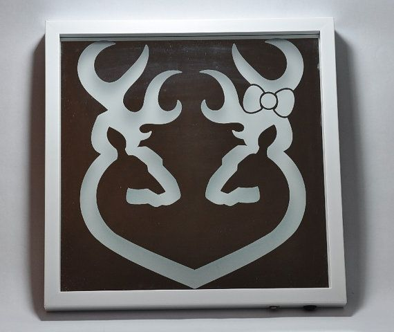 Browning Couple Heart Deer Head Etched LED Backlit Mirror ...