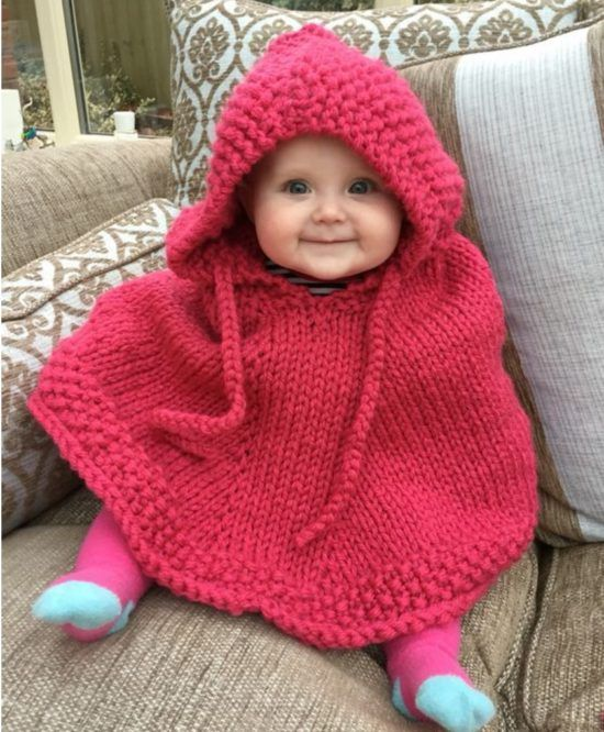 Hooded Toddler Poncho Knitting Pattern : Knitted Hooded Baby Poncho Pattern Free Baby poncho