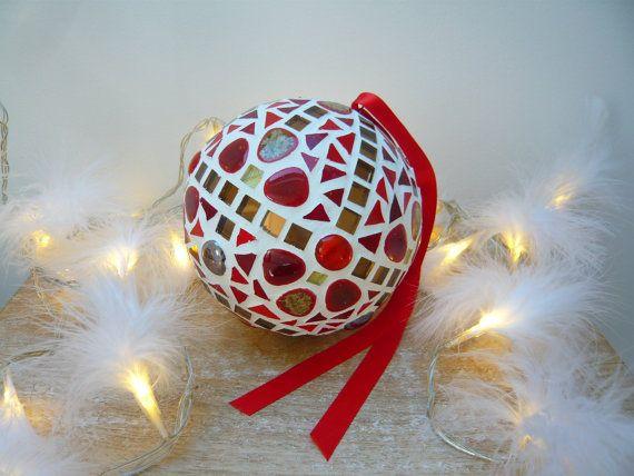 Décoration de Noël, grande boule en mosaïque à suspendre pour