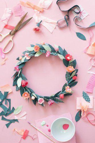 Diy Une Couronne De Fleur En Papier Crepon Diy Pinterest