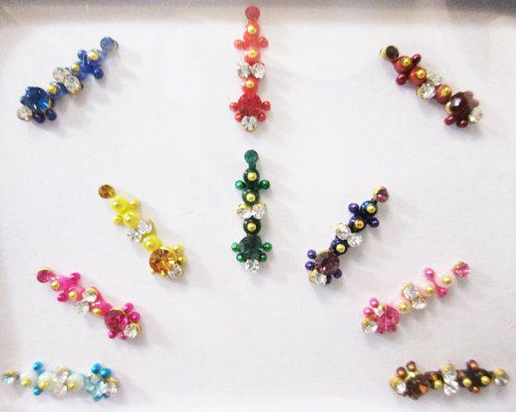 10 Rhinestone Colorful Bindis for Beautiful by BindiStoreUSACANADA, $6.99