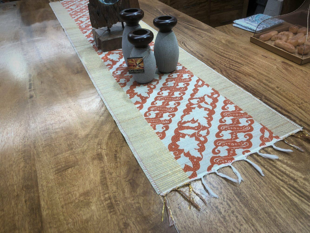 Bamboo Stick Table Runner with Red/Gold Thread in 2020