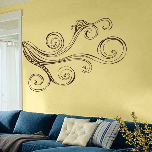 Retro Swirling Branch Corner Piece Wall Decal Sticker Graphic Wall Decals Wall Decal Sticker Floral Wall Decals