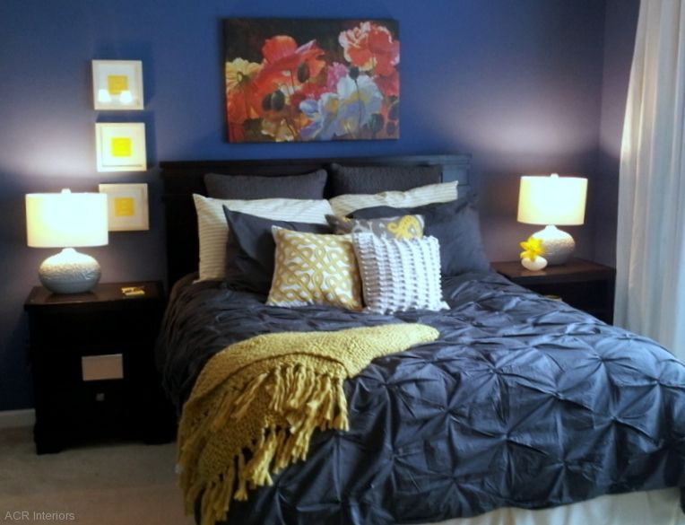 Navy And Yellow Bedroom With White Comforter Instead Of The Blue
