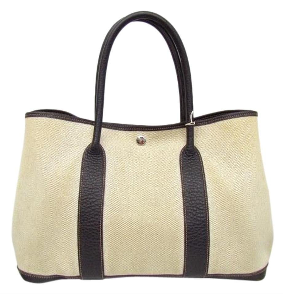 Photo of Hermès Garden Party Tote Bag Pm Leather □ I 2005 Handbag Plain Simple Beige Brown / Black / Brown / Light Beige / Natural / Natural Toile H