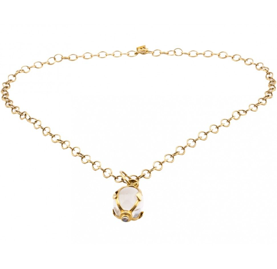 Temple st clair k yellow gold oval rock crystal amulet necklace
