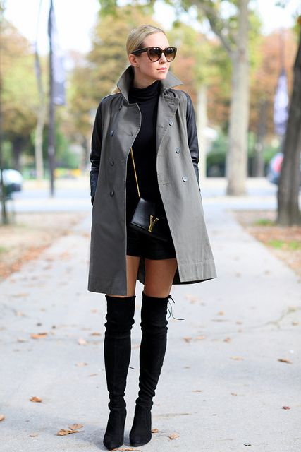 8c6569bbf0b Over the Knee Boots with leather shorts and a trench. Brooklyn Blonde