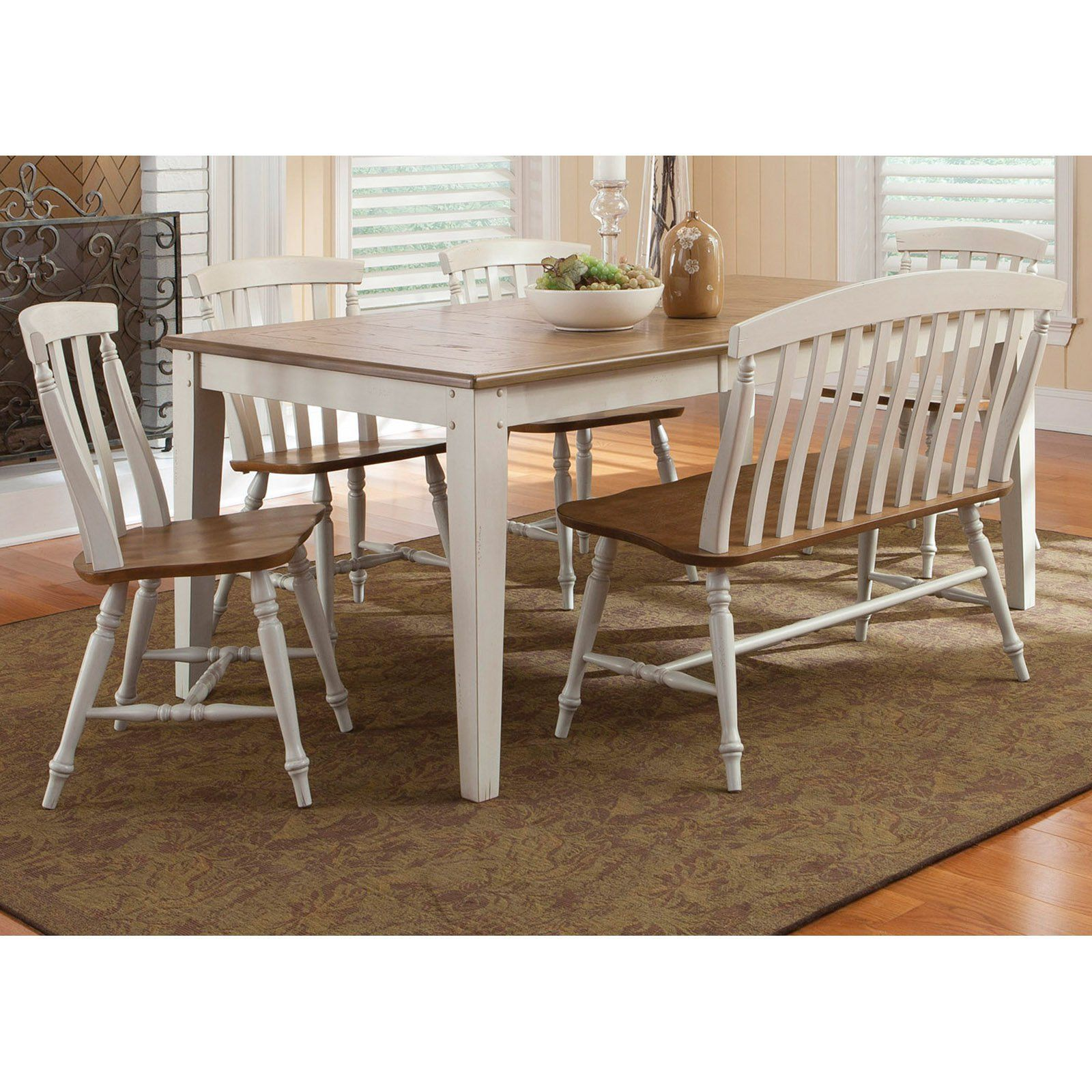 Liberty furniture canton 6 piece rectangular table set from hayneedle com dining room benchdining
