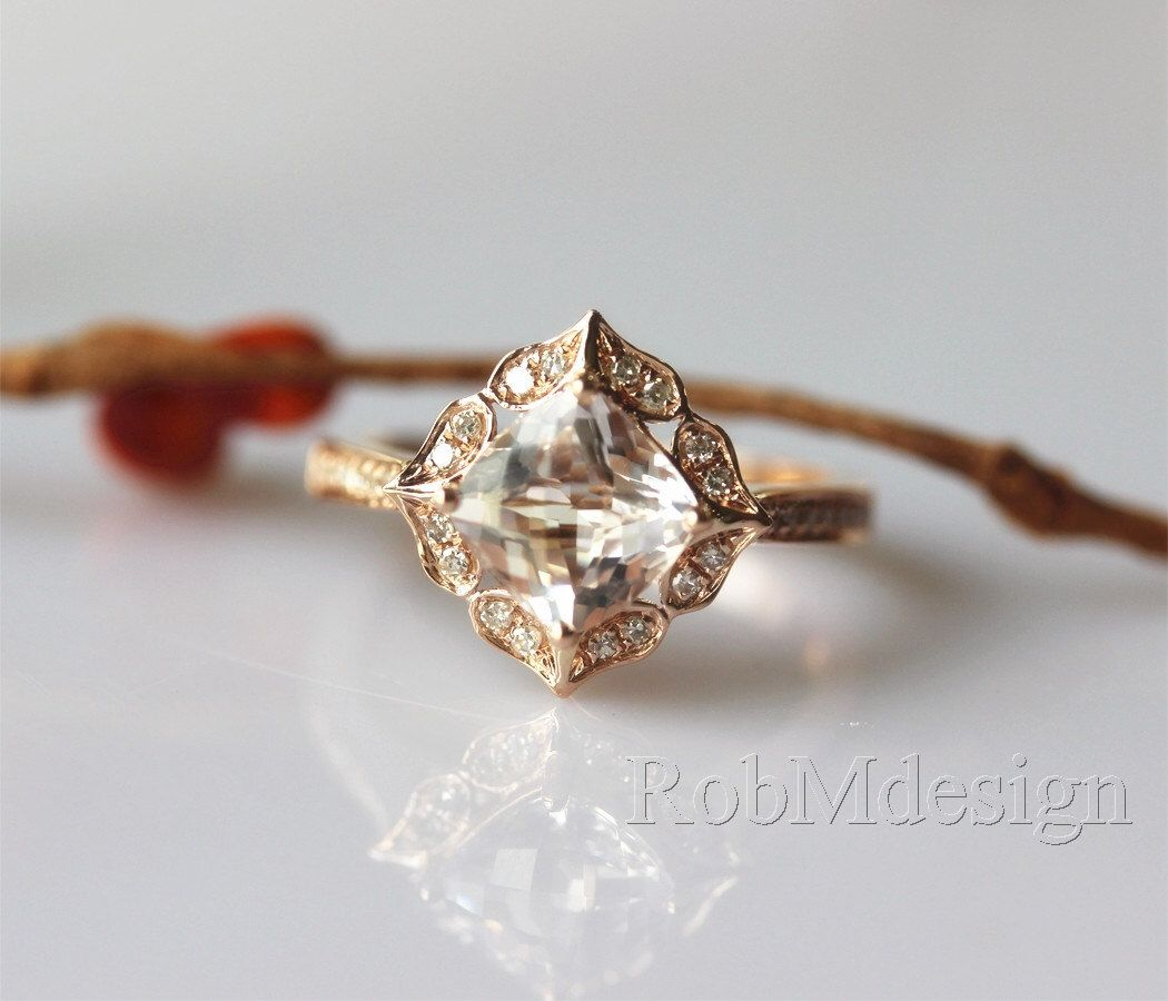 Stackable Peach Pink Morganite Ring Vintage Floral Design Engagement Ring 14k Rose Gold Ring Diamond Ring Wedding Ring by RobMdesign on Etsy https://www.etsy.com/listing/220198426/stackable-peach-pink-morganite-ring