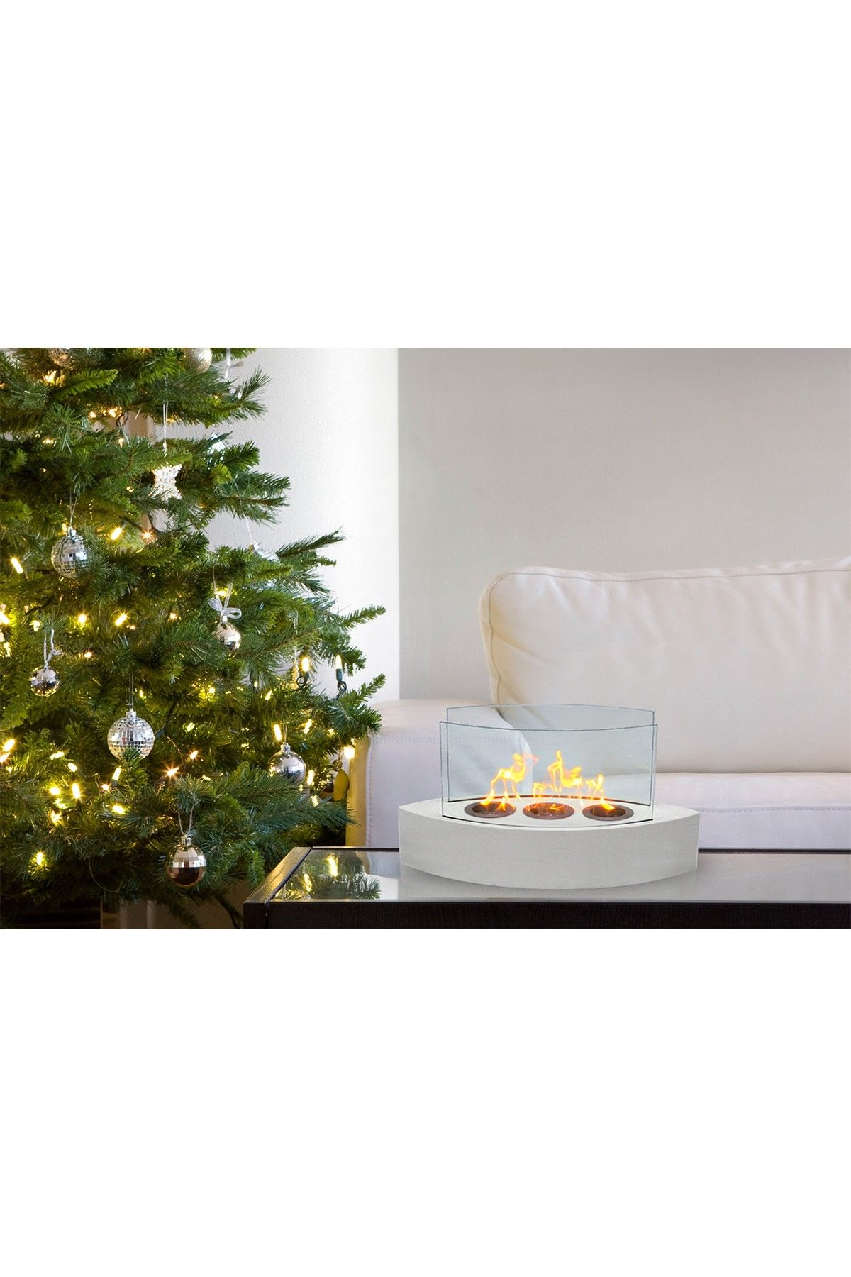 Anywhere Fireplaces - Lexington High Gloss White Tabletop Fireplace - Hautelook