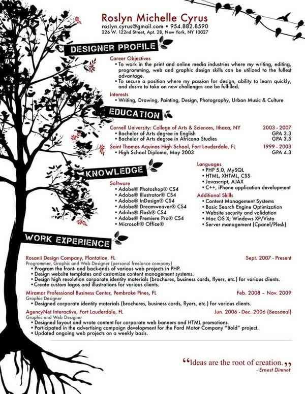 creative resume designs cute cvs Pinterest Curriculum - web design resume template