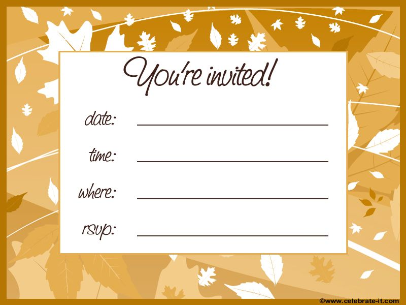 Free Fall Leaves Party Invitation Indian Summer Party Theme - free printable dinner party invitations