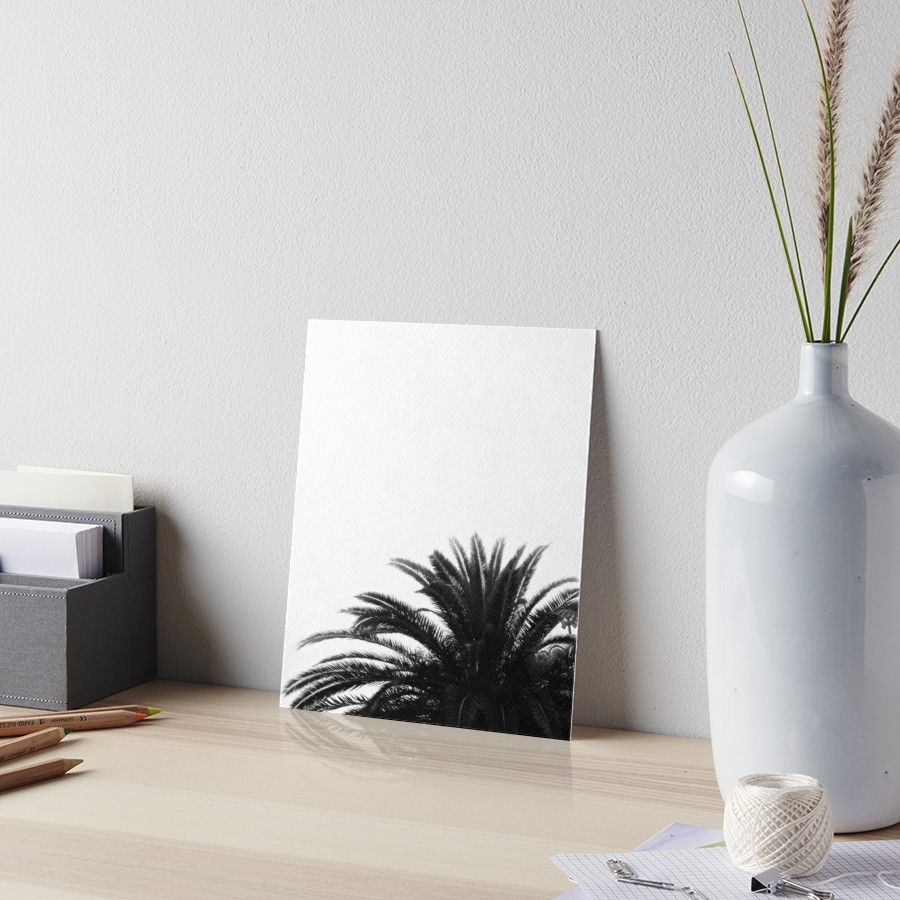 Palm tree in bw art board by artbyjwp from redbubble homedecor