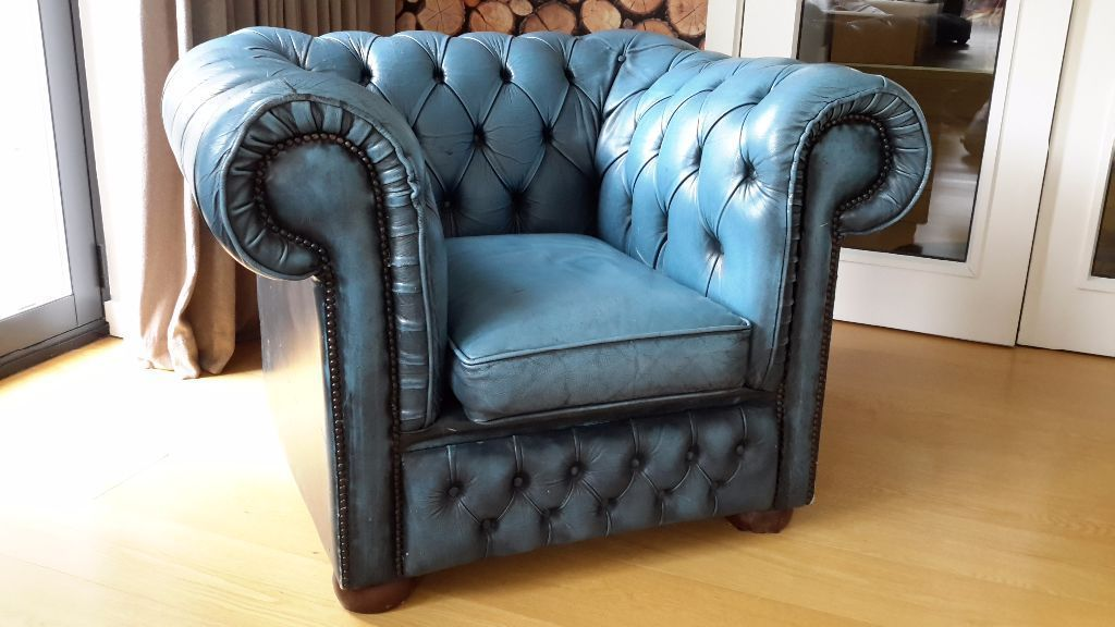 Amazing 1 X Chesterfield Club Chair In Antique Blue Leather No Inzonedesignstudio Interior Chair Design Inzonedesignstudiocom