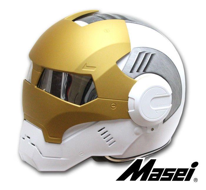 Masei 610 Atomic Man Motorcycle Bike Helmet Matt White Gray Gold