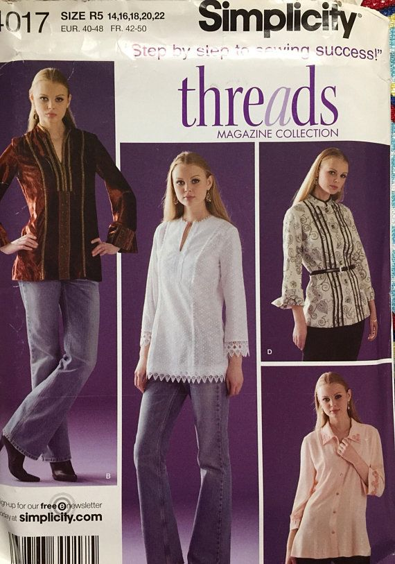 078680413ca Plus Size Pull Over Tunics Simplicity 4017 Size 14-22 Bust 36-44 inches  Uncut Complete Sewing Patt
