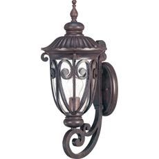 Corniche 1-Light Mid-Size Wall Lantern Arm Up with Seeded Glass finished in Burlwood