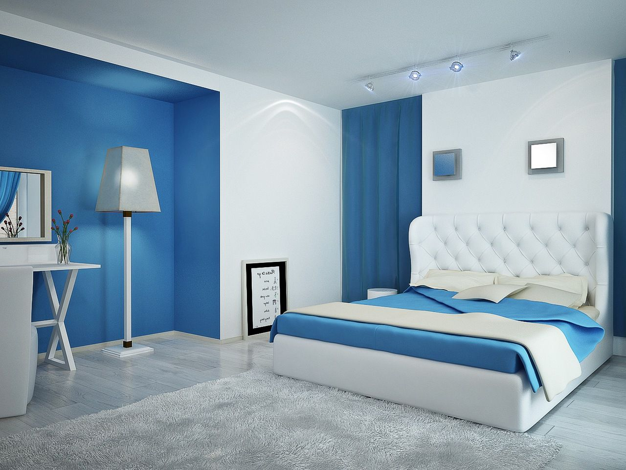 Modern White And Blue Bedroom bl/grey borders! !blue grey sheer curtains, grey shelves, blue