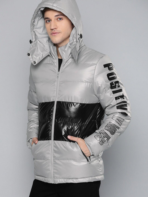 Buy Here Now Men Grey Black Colourblocked Puffer Jacket Jackets For Men 10032475 Myntra Jackets Puffer Jackets Puffer [ 1440 x 1080 Pixel ]