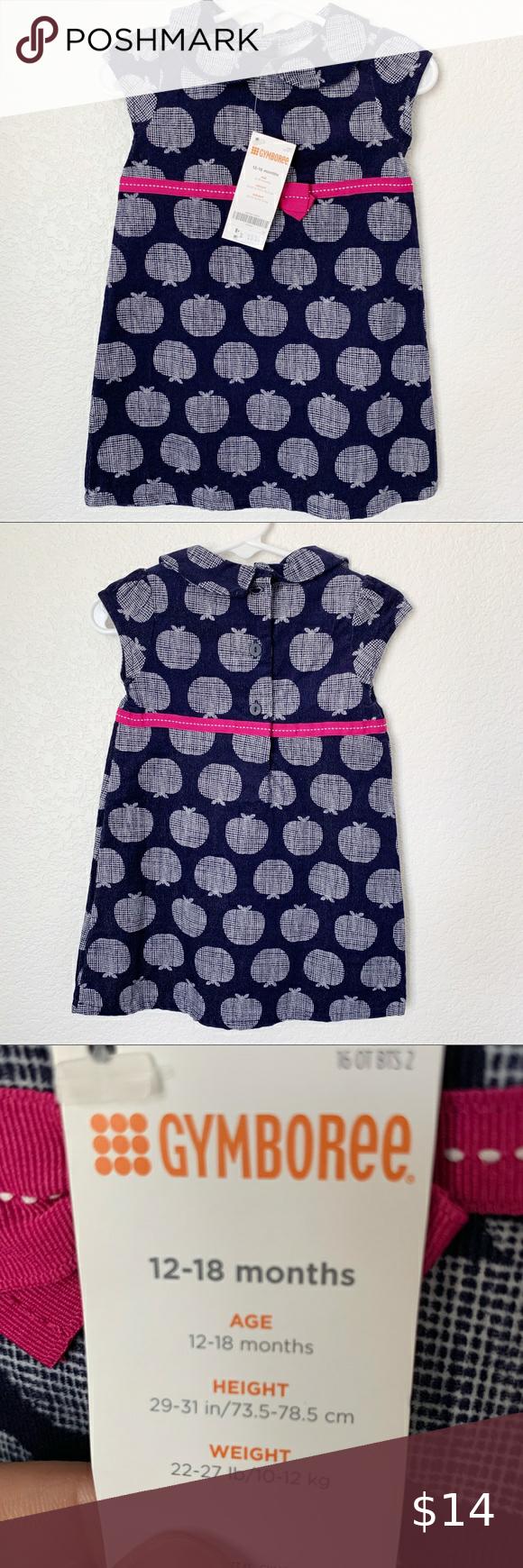 NEW Gymboree Girls Charm Class Apple Print Corduroy Dress NWT Size 6-12M