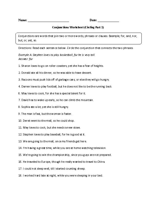 Conjunctions Worksheet Circling Part 1 Advanced | Worksheets