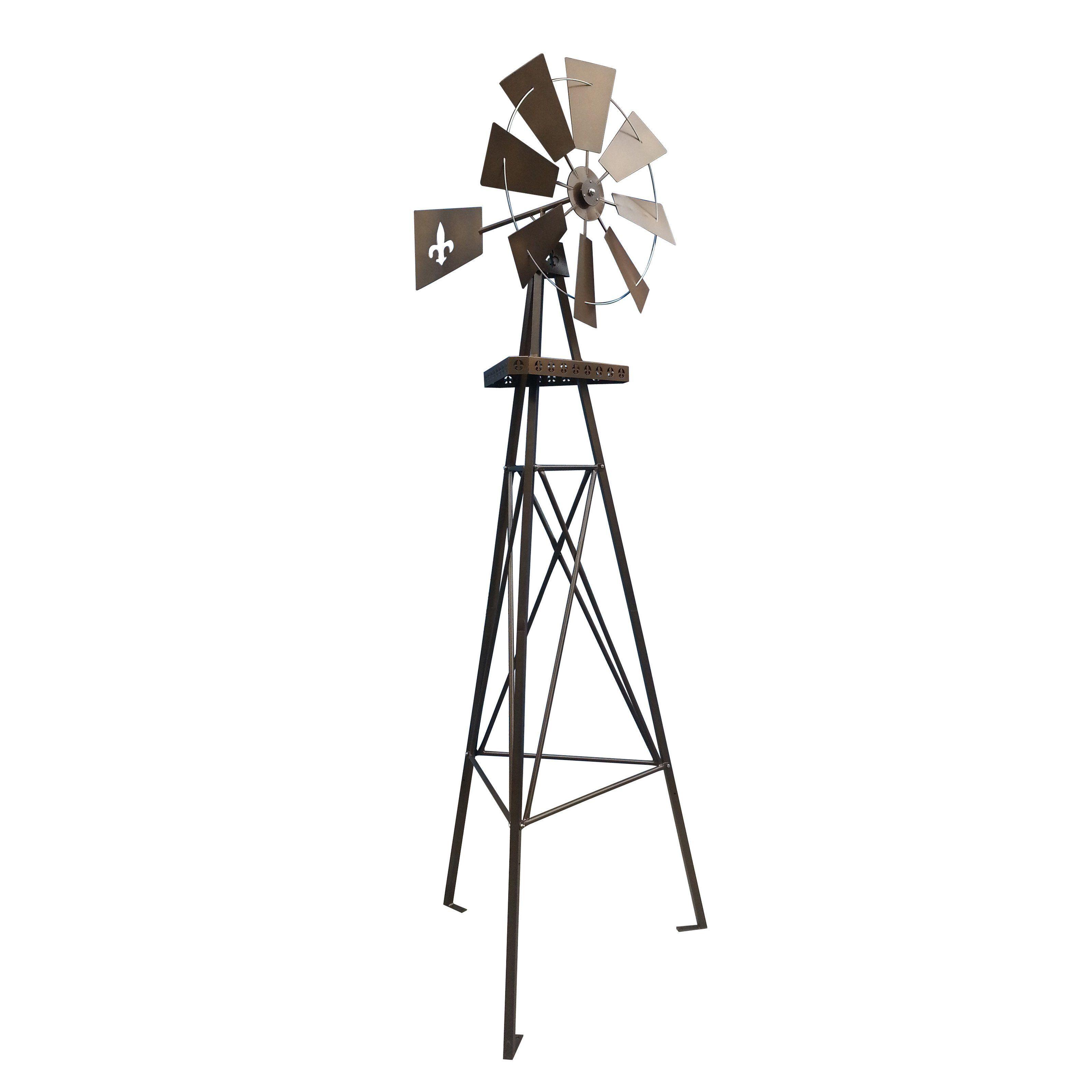 Leigh Country 9 ft. Metal Tripod Fleur De Lis Windmill - TX 93472