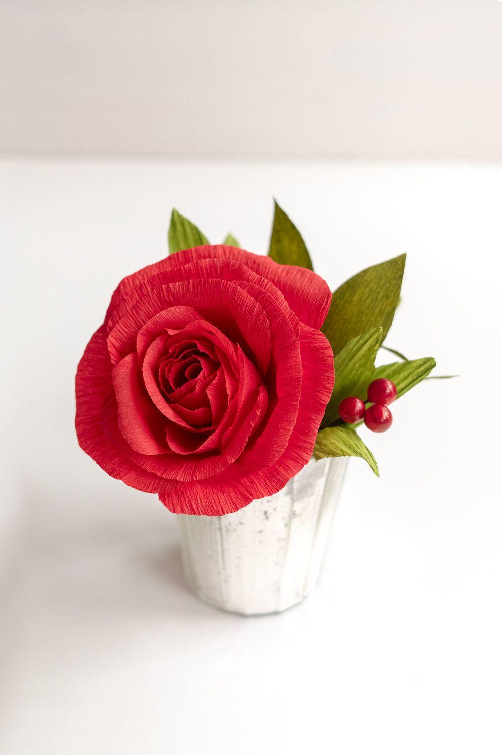 Red Rose Mini Paper Roses Paper Flower Arrangements Paper Flower Bouquet