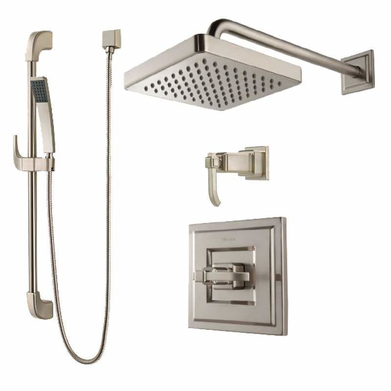 Pfister B89-7WE Carnegie Shower System with Valve Trim Shower Head ...