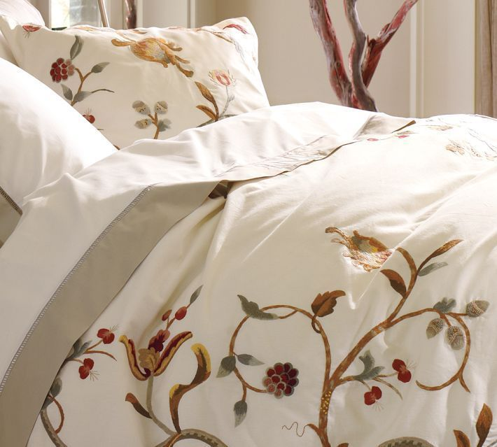 Pottery Barn Alisa Embroidered King Duvet Cover New Crewel