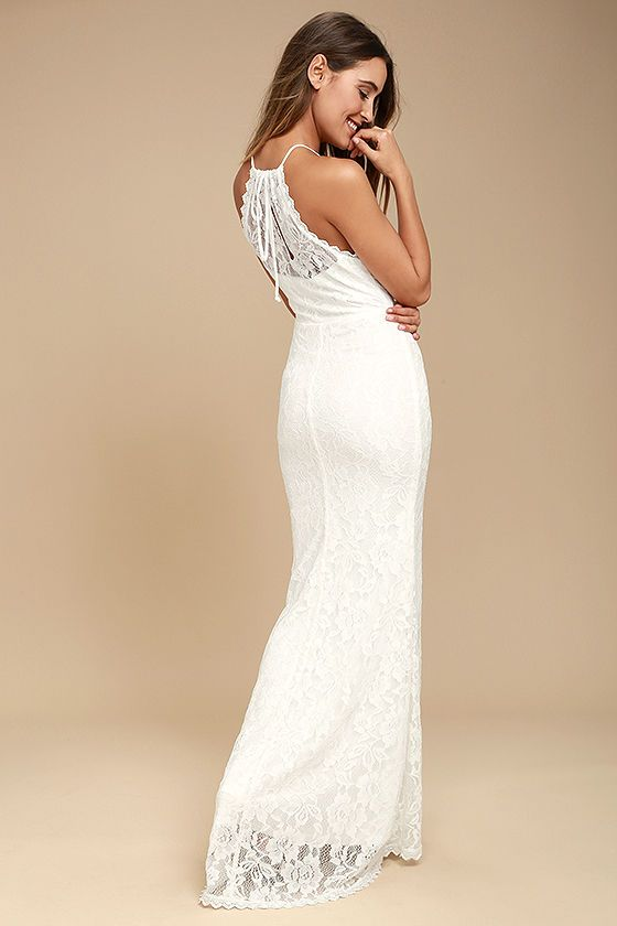 0be289425e The Evening Moon White Lace Maxi Dress is a stunning addition to any  special night! Lovely lace falls from a tying halter neckline into a  lightly padded ...