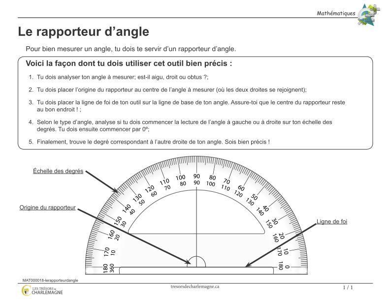 Affiche le rapporteur d angle math school and math stem - Rapporteur d angle ...