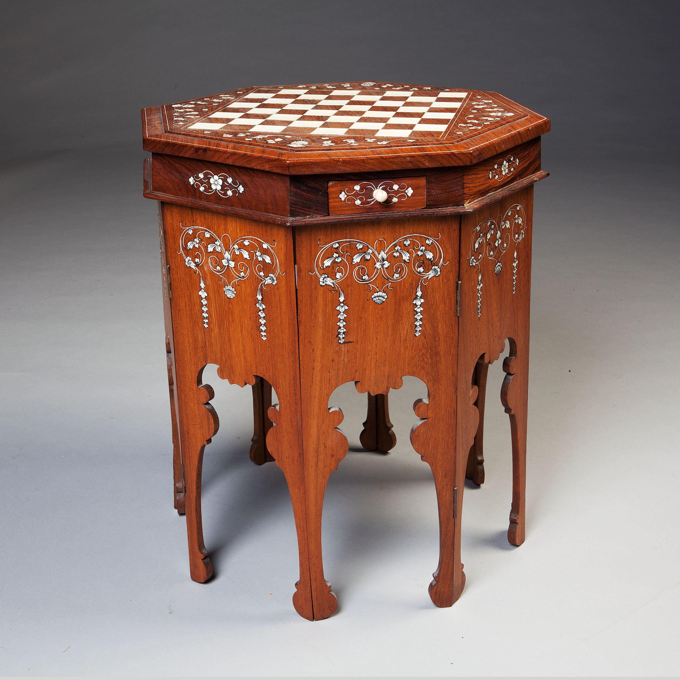 A FINE IVORY INLAID MYSORE INDIAN GAME TABLE : Nicholas Wells Antiques