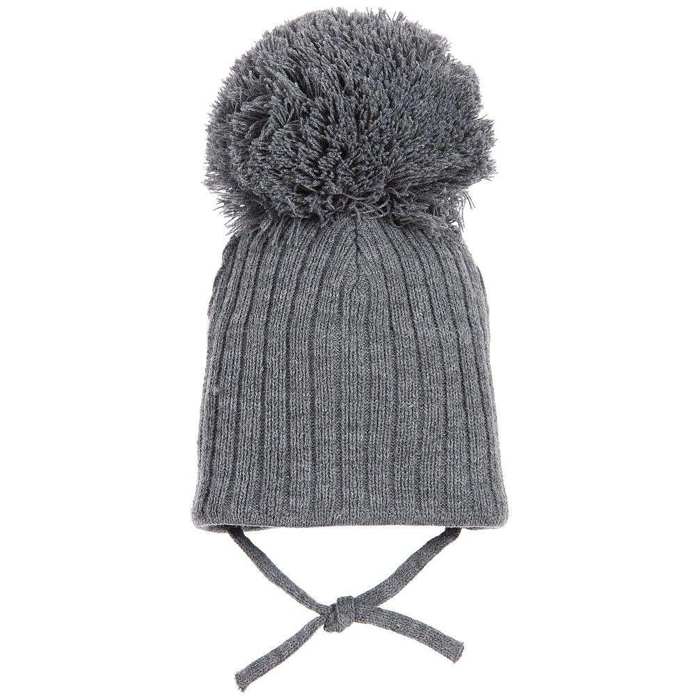 1f70c79b6ad Satila of Sweden - Grey Knitted Large Pom-Pom Hat