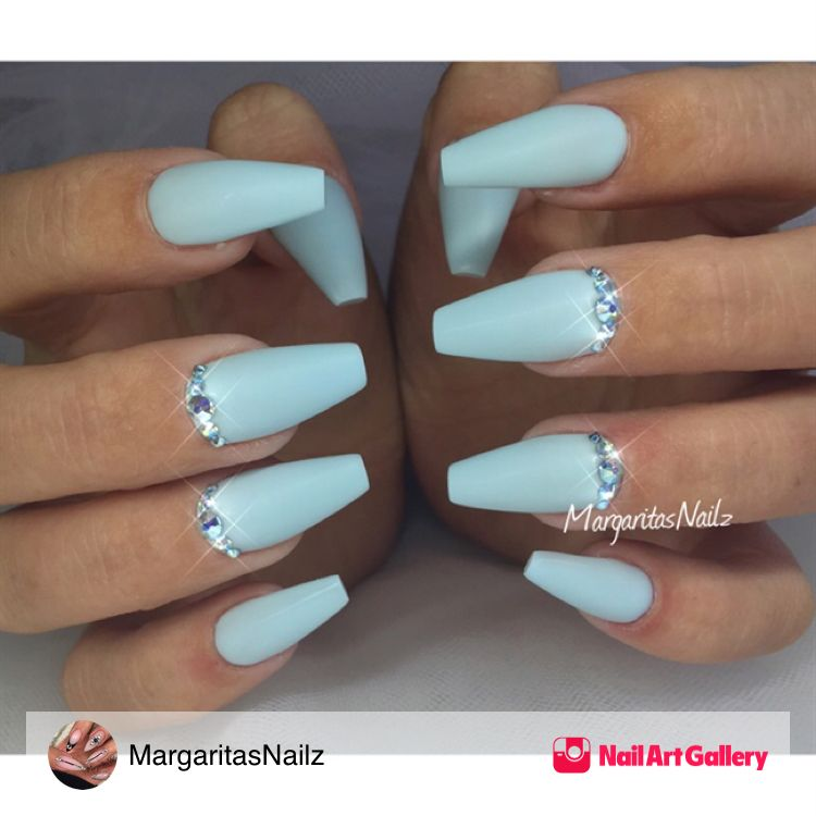 Baby Blue Coffin Nails By Margaritasnailz Via Nail Art Gallery Nailartgallery Nailart Nails