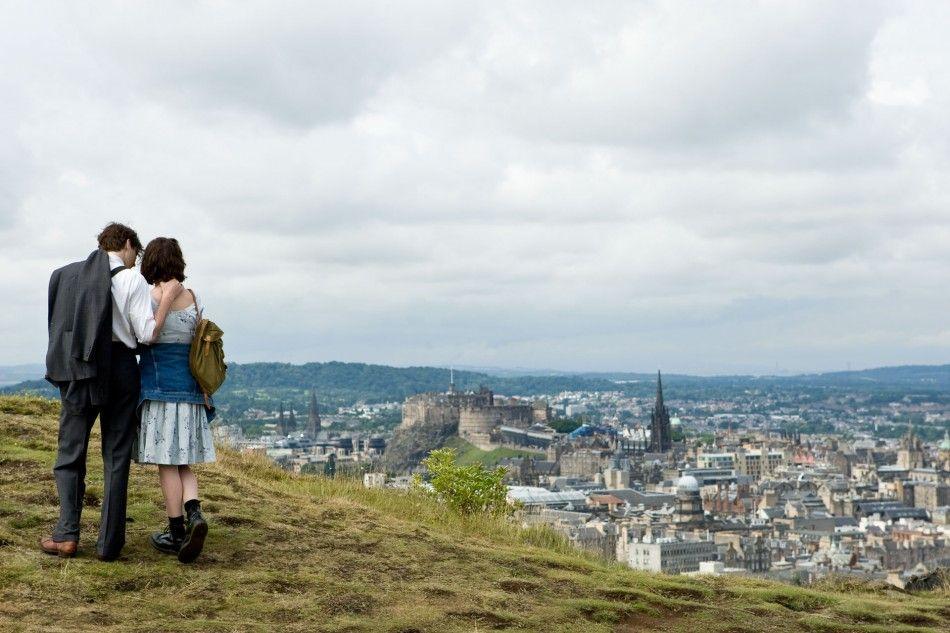 the grassy slope on Arthur's Seat, Edinburgh