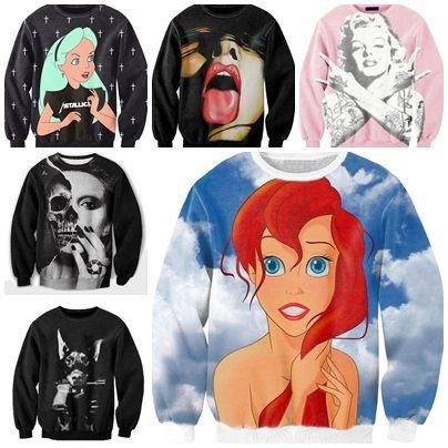 Factory tops!2014 women/men punk frida lips pullover cartoon funny 3D Sweatshirts Hoodies Rihanna/Monroe galaxy sweaters tops