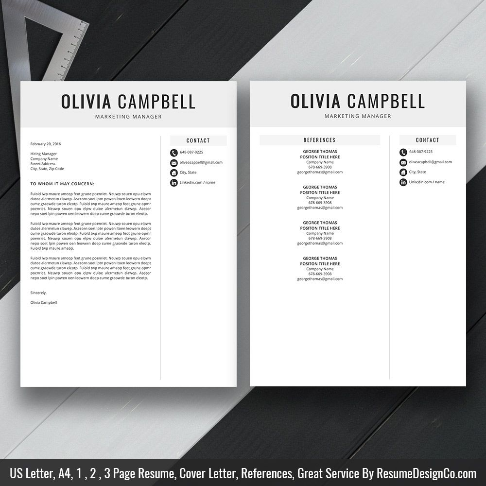 Instant Download: The Olivia Resume | Icon Files, Professional